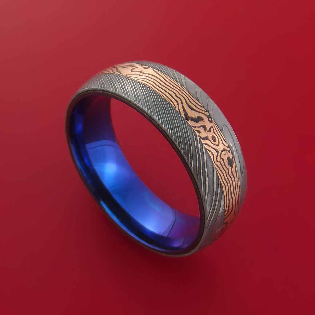 Damascus Steel Ring with 14k Rose Gold Mokume Shakudo Inlay and Interior Anodized Titanium Sleeve Custom Made Band