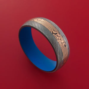 Damascus Steel Ring with 14k Rose Gold Mokume Shakudo Inlay and Interior Cerakote Titanium Sleeve Custom Made Band