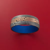 Damascus and 14K ROSE GOLD Mokume Gane Shakudo Ring with Cerakote Sleeve Custom Made