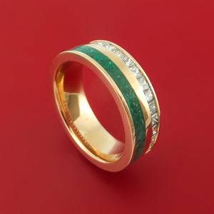 14K Rose Gold Band with Half Eternity Diamonds and Malachite Stone Inlay Custom Made
