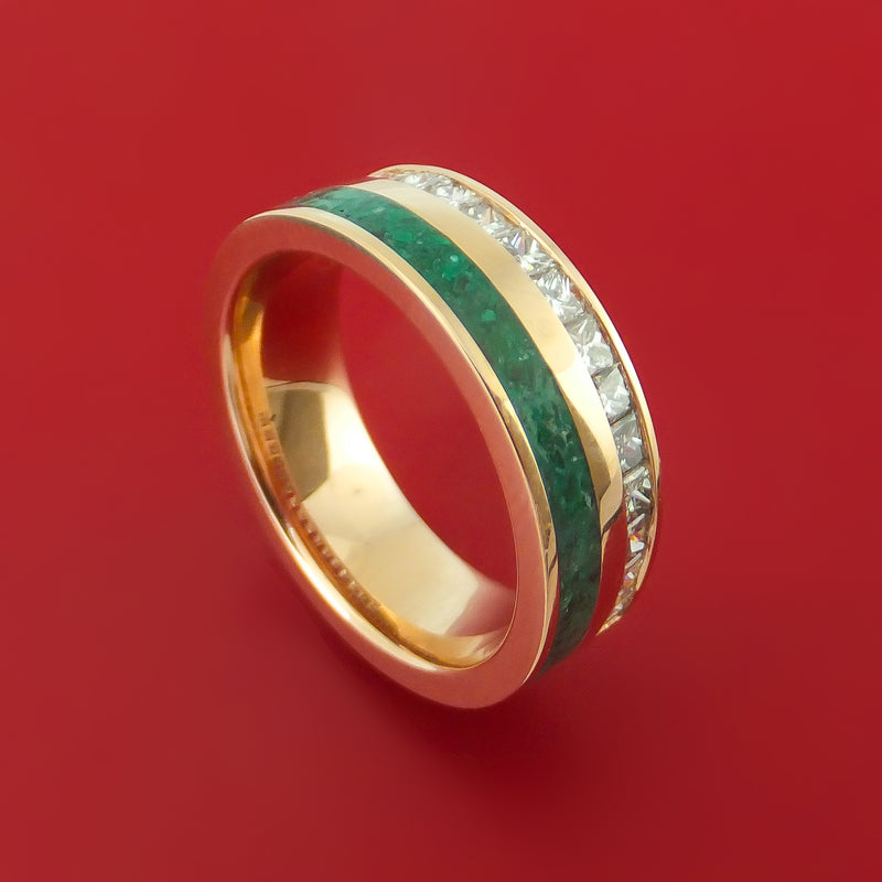 14k Yellow Gold Ring with Malachite Inlay and Diamonds Custom Made Band