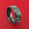 Black Zirconium Hammered Wedge Cut Wedding Band Ring Made to Any Sizing
