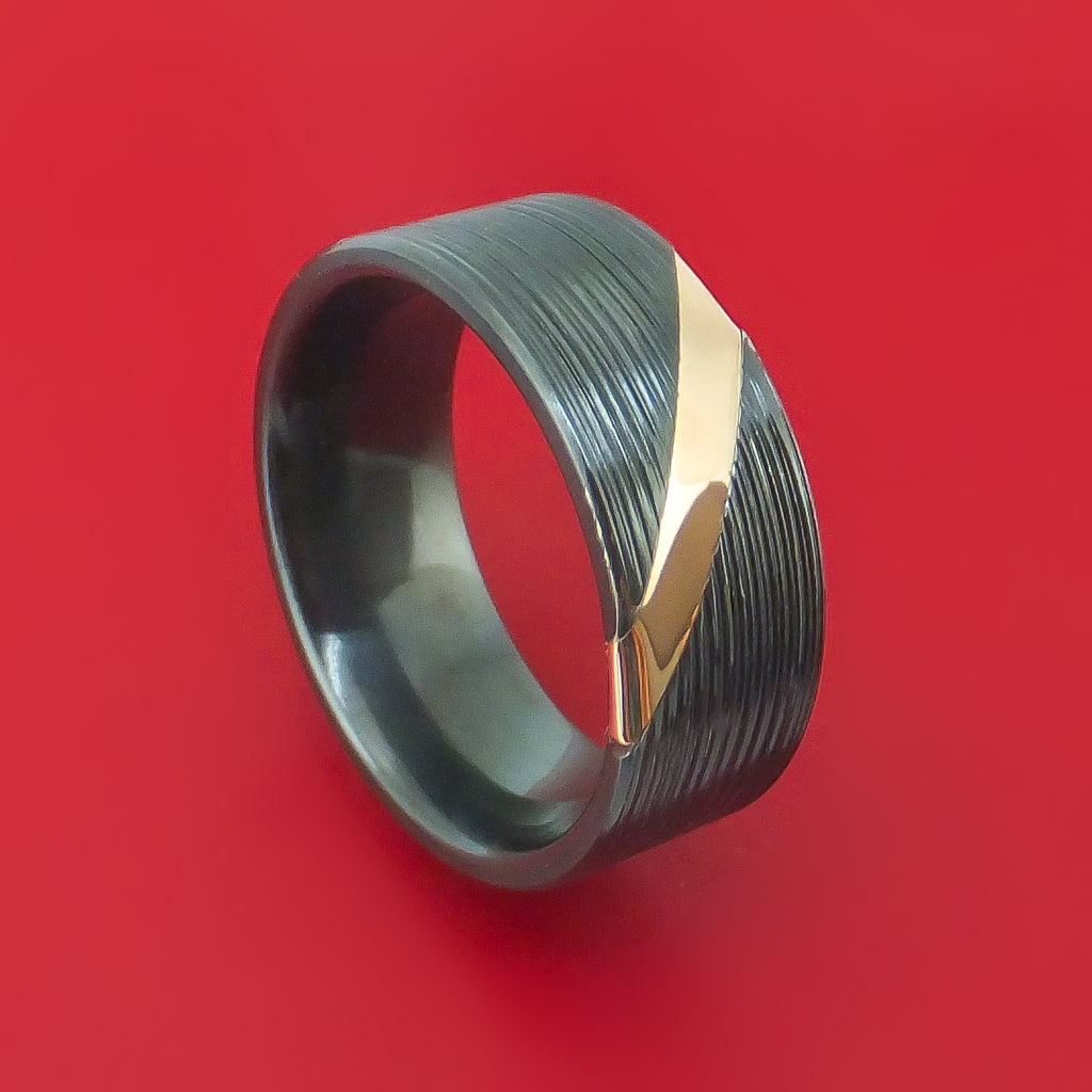 Black Zirconium and Angled 14K Rose Gold Band Custom Made