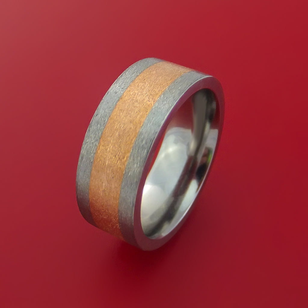 14k Rose Gold and Titanium Band Custom Made Ring by Stonebrook Jewelry