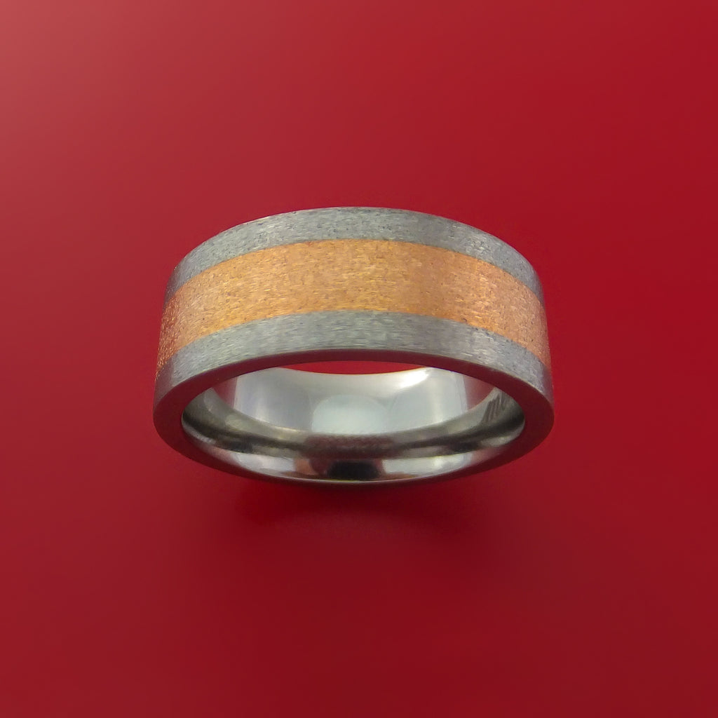 14k Rose Gold and Titanium Band Custom Made Ring