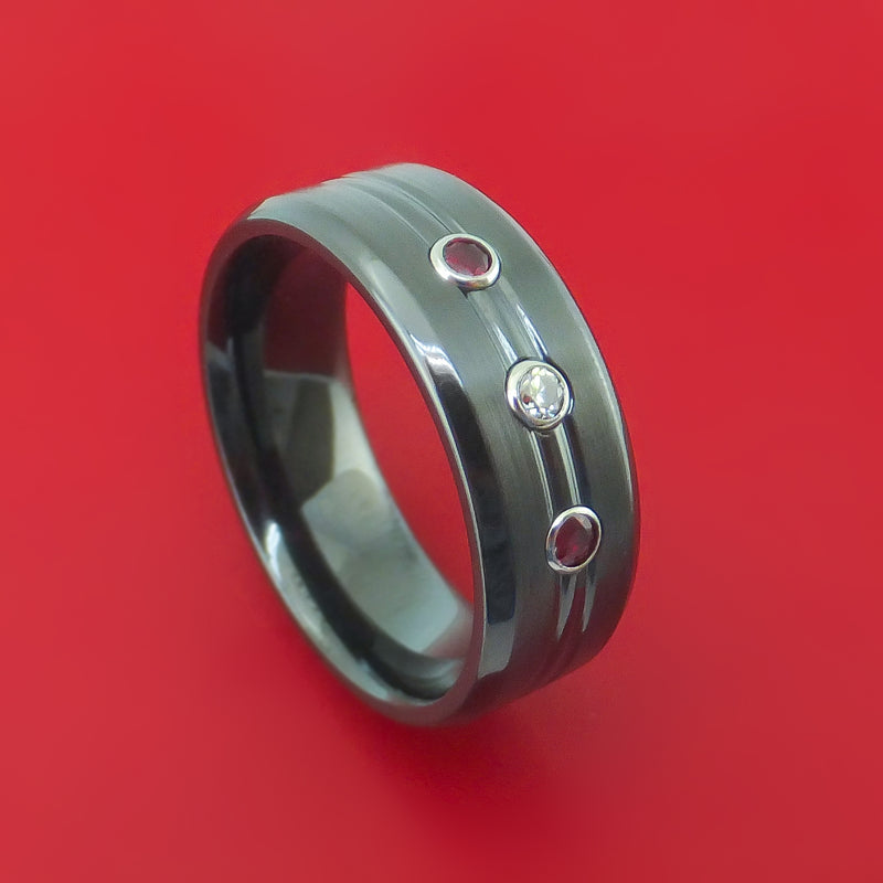 Black Zirconium Ring with Diamond and Rubies Custom Made Band