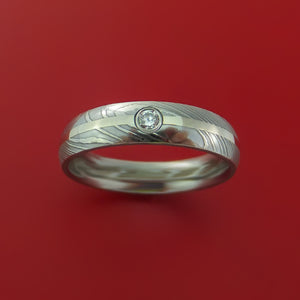Damascus Steel Ring with 14K White Gold Inlay and Diamond Custom Made Band