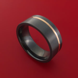 Black Zirconium Ring Textured Pattern Band with Rose Gold Inlay Made to Any Sizing and Finish