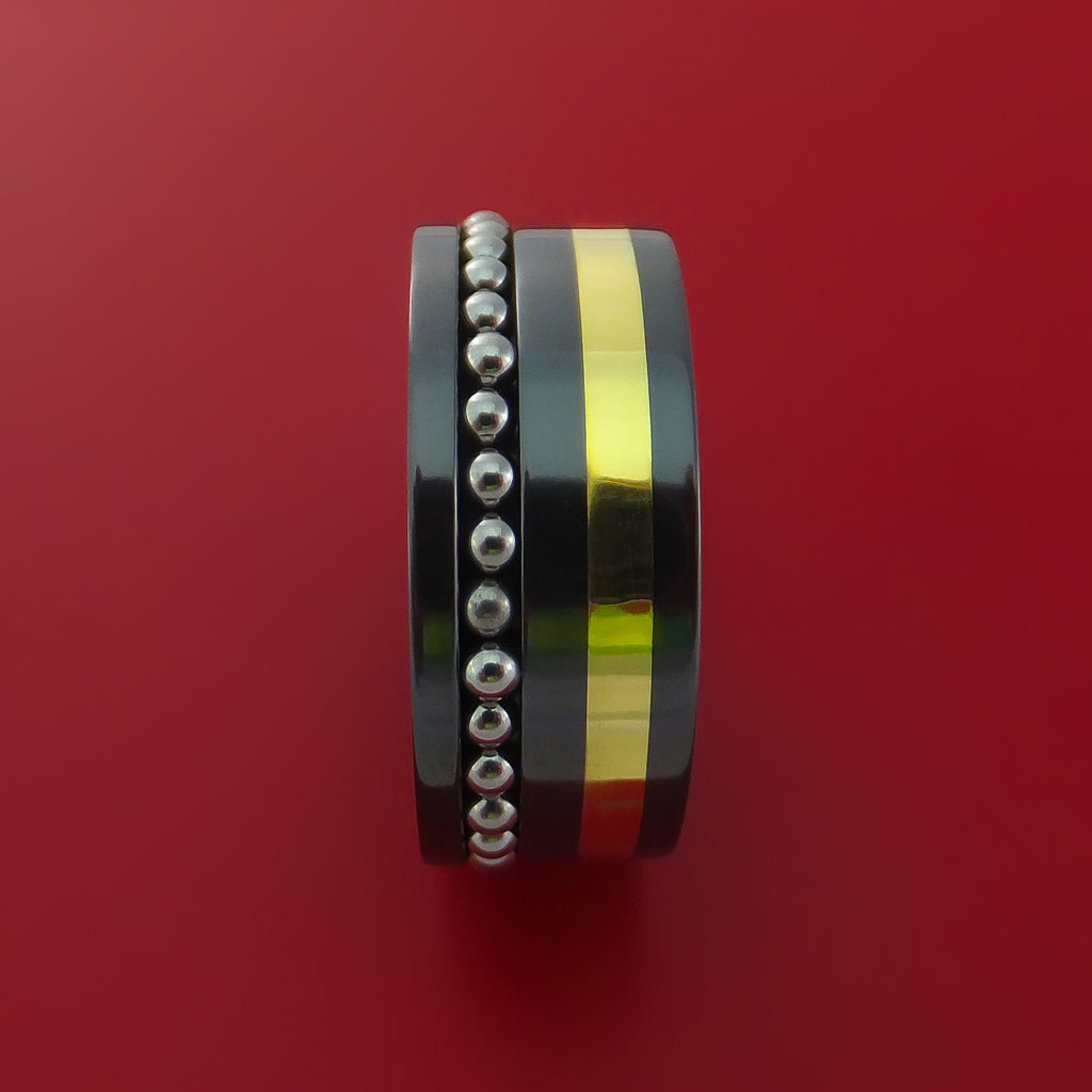 Black Zirconium and 14K Yellow Gold Ring with Spinning Ball Bearings by Stonebrook Jewelry