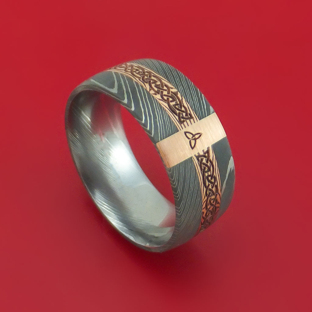 Damascus Steel Celtic Ring with 14K Rose Gold and Mokume Shakudo Custom Made