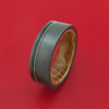 Black Zirconium Guitar String Ring with Whiskey Barrel Wood Sleeve Custom Made Band