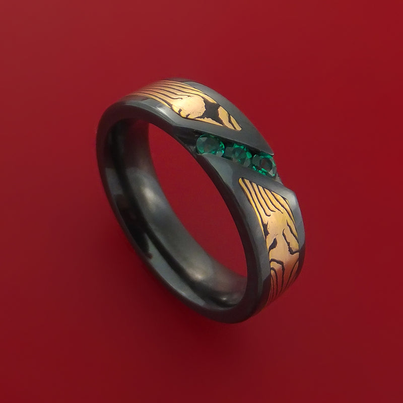 Black Zirconium Ring with Rose Gold Mokume Shakudo and Sapphires