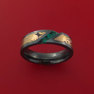 Black Zirconium Ring with 14k Rose Gold Mokume Shakudo Inlay and Green Sapphires Custom Made Band