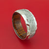 Cobalt Chrome Ring with Gibeon Meteorite Inlay and Interior Hardwood Sleeve Custom Made Band