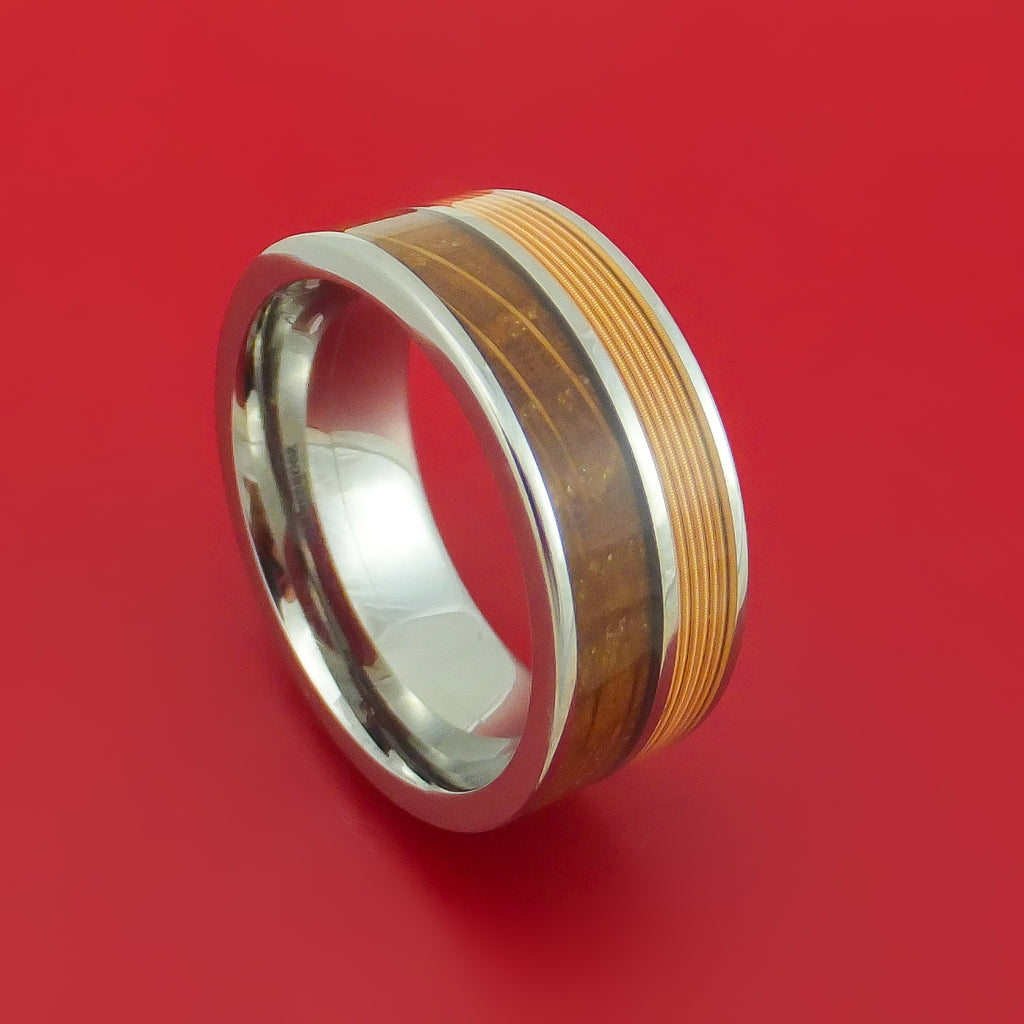 Titanium Ring with Guitar String and Whiskey Barrel Wood Inlays Custom Made Band