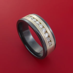 Black Zirconium Ring with Sterling Silver Inlay and Diamonds Custom Made Band