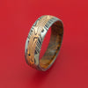 Kuro Damascus Steel Ring with 14k Rose Gold Mokume Shakudo Inlay and Interior Hardwood Sleeve Custom Made Band