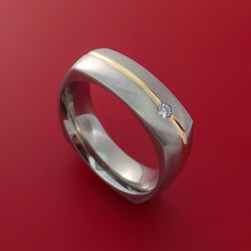 Cobalt Chrome Square Band with 14K Yellow Gold Inlay and Diamond Custom Made Ring