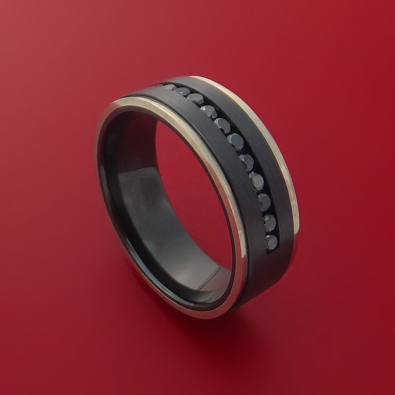 Black Zirconium Ring with Black Diamonds and 14k White Gold Edges Custom Made Band