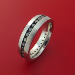 Cobalt Chrome Eternity Band with Black Diamonds Custom Made Ring