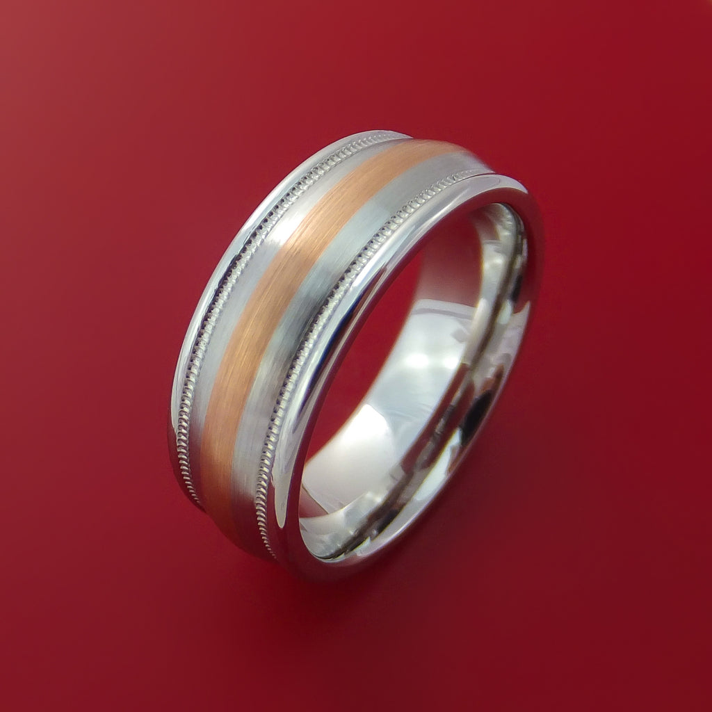 Cobalt Chrome Millgrain Ring with Rose Gold Inlay