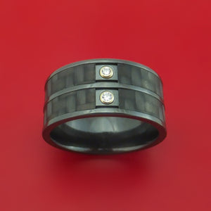 Black Zirconium and Carbon Fiber Band with Diamonds Custom Made