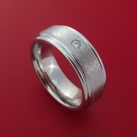 Cobalt Chrome Satin Finish Ring with a Beautiful Round Diamond