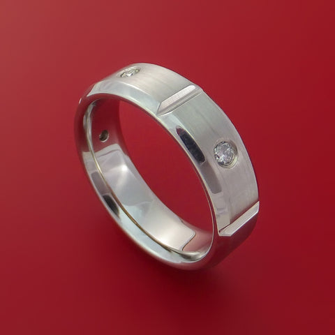 Cobalt Chrome Five Section Ring with Round Cut Diamonds Custom Made Band