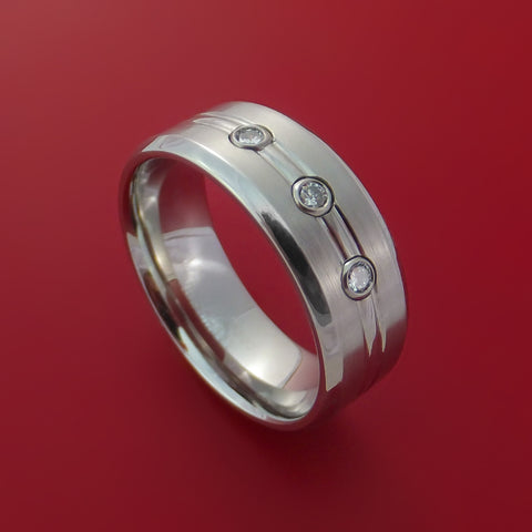 Cobalt Chrome Ring with 3 Beautiful Diamonds Custom Made Band