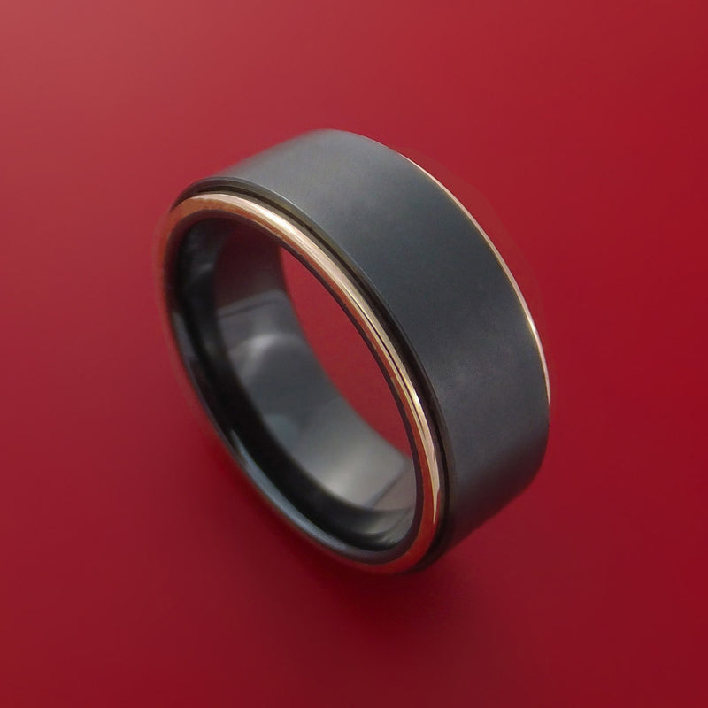 Black Zirconium Ring with 14k Rose Gold Edges Custom Made Band