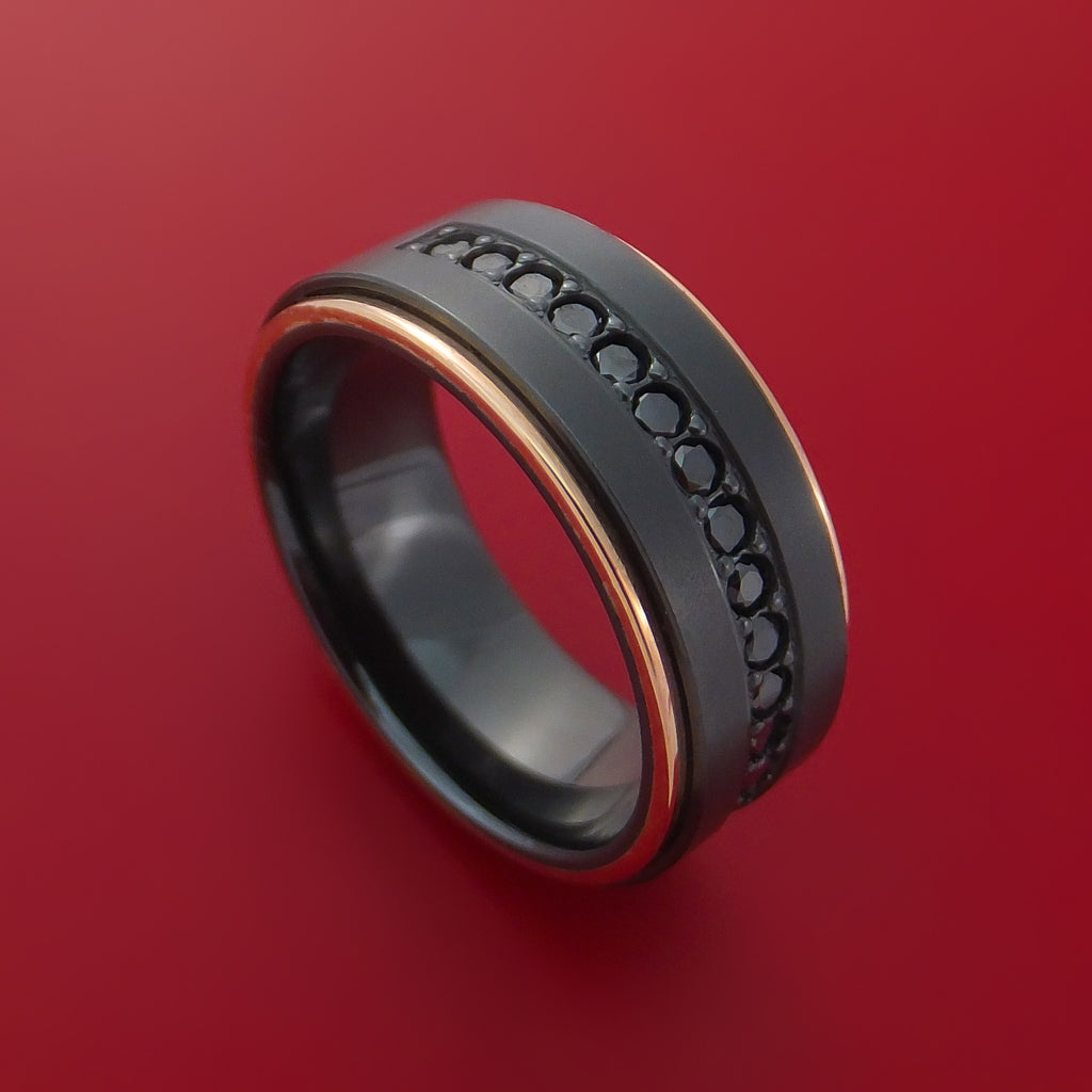 Black Zirconium Ring with Black Diamonds and 14k Rose Gold Edges Custom Made Band