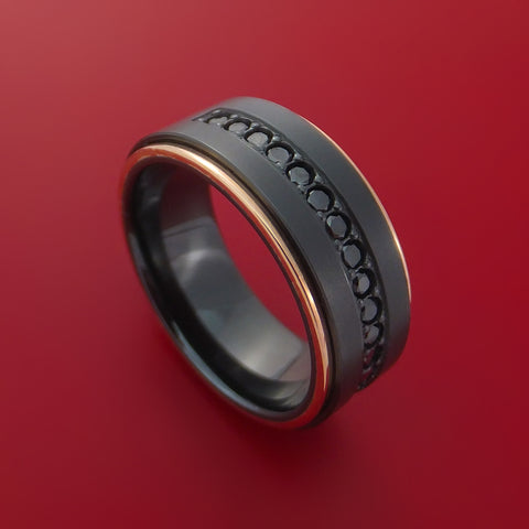 Black Zirconium and 14K Rose Gold Band with Black Diamonds Custom Made Ring by Stonebrook Jewelry
