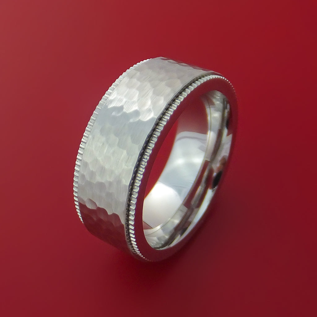 Cobalt Chrome Hammered Ring with Coin Milled Edge Custom Made Band