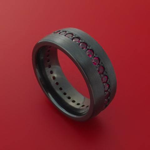 Black Zirconium Eternity Band with Stunning Red Rubies by Stonebrook Jewelry