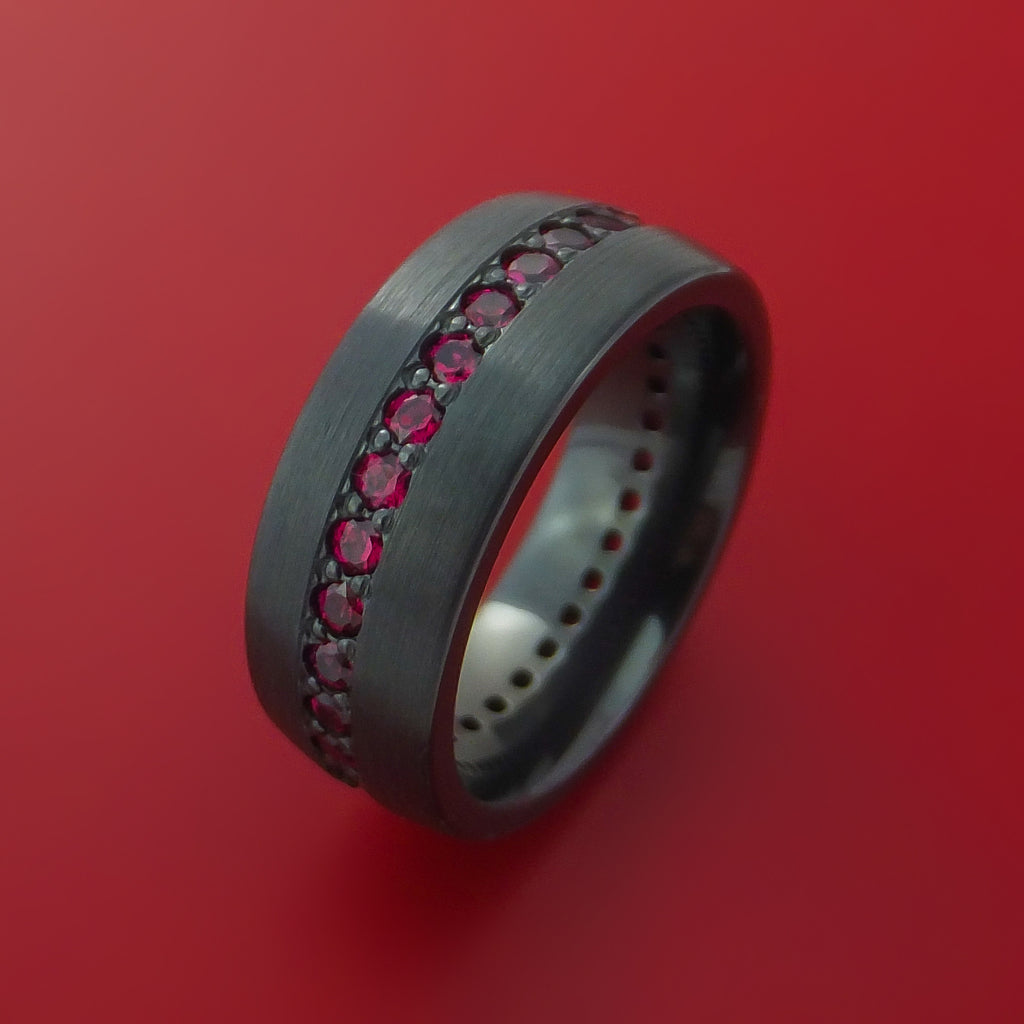 Black Zirconium Eternity Band with Stunning Red Rubies