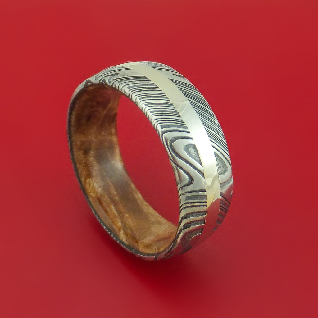 Kuro Damascus Steel Ring with 14K White Gold Inlay and Interior Hardwood Sleeve Custom Made Band