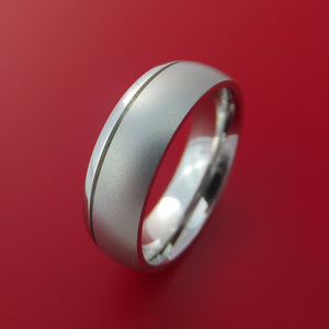 Cobalt Chrome Ring with Groove Inlay Custom Made Band