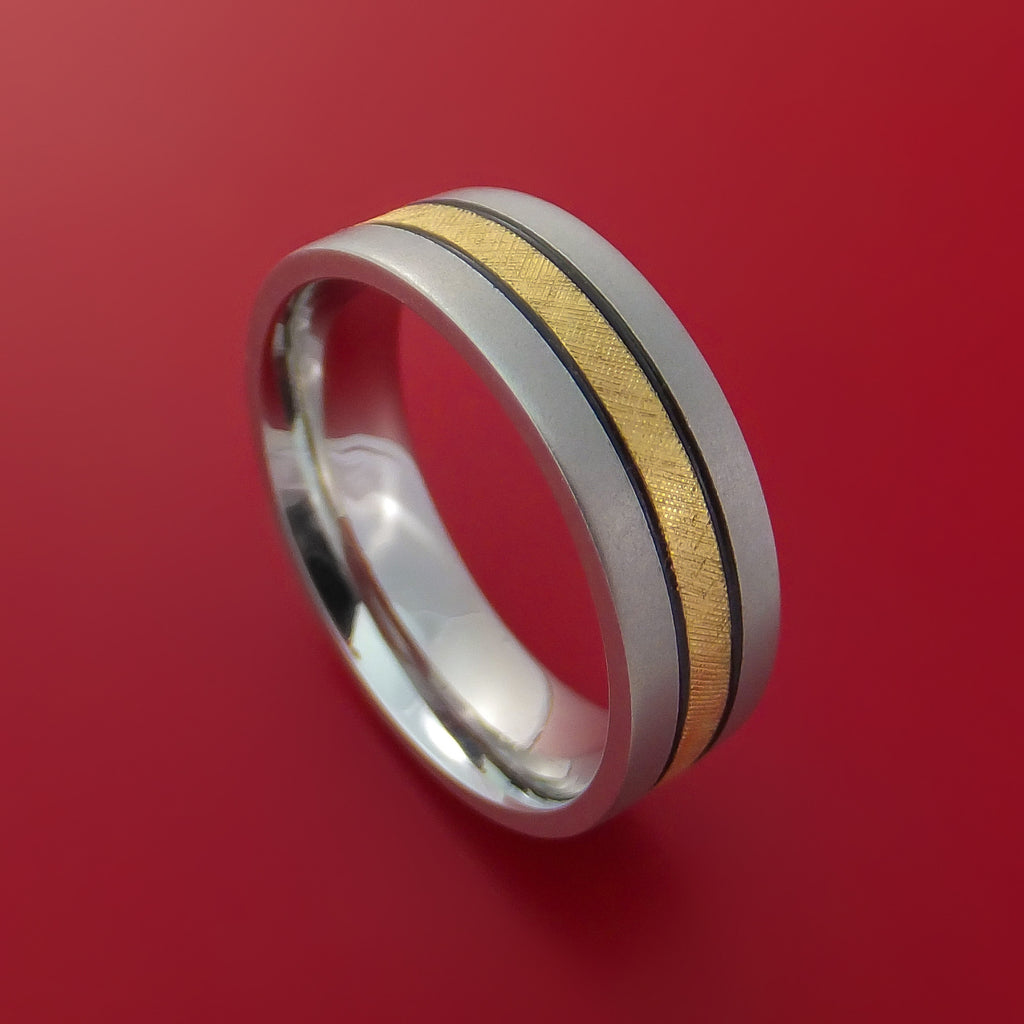 Cobalt Chrome Band with 14K Yellow Gold Florentine Inlay Custom Made Ring by Stonebrook Jewelry