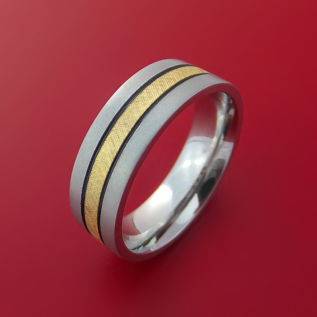 Cobalt Chrome Band with 14K Yellow Gold Florentine Inlay Custom Made Ring - Stonebrook Jewelry  - 3