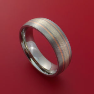 Cobalt Chrome Ring with Sterling Silver and 14k Rose Gold Inlays Custom Made Band