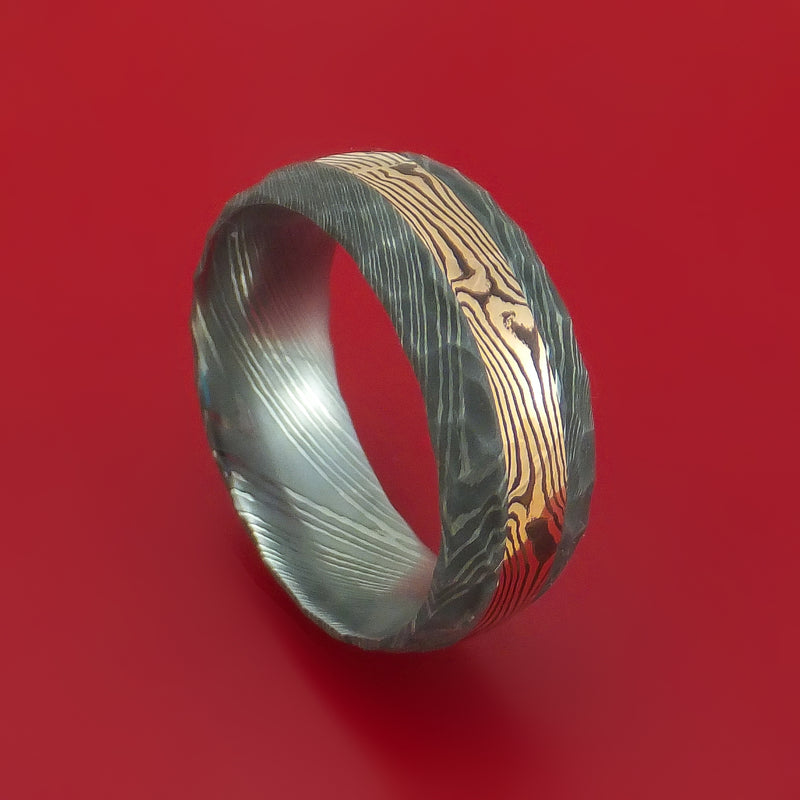 Hammered Damascus Steel Ring with 14k Rose Gold Mokume Shakudo Inlay Custom Made Band