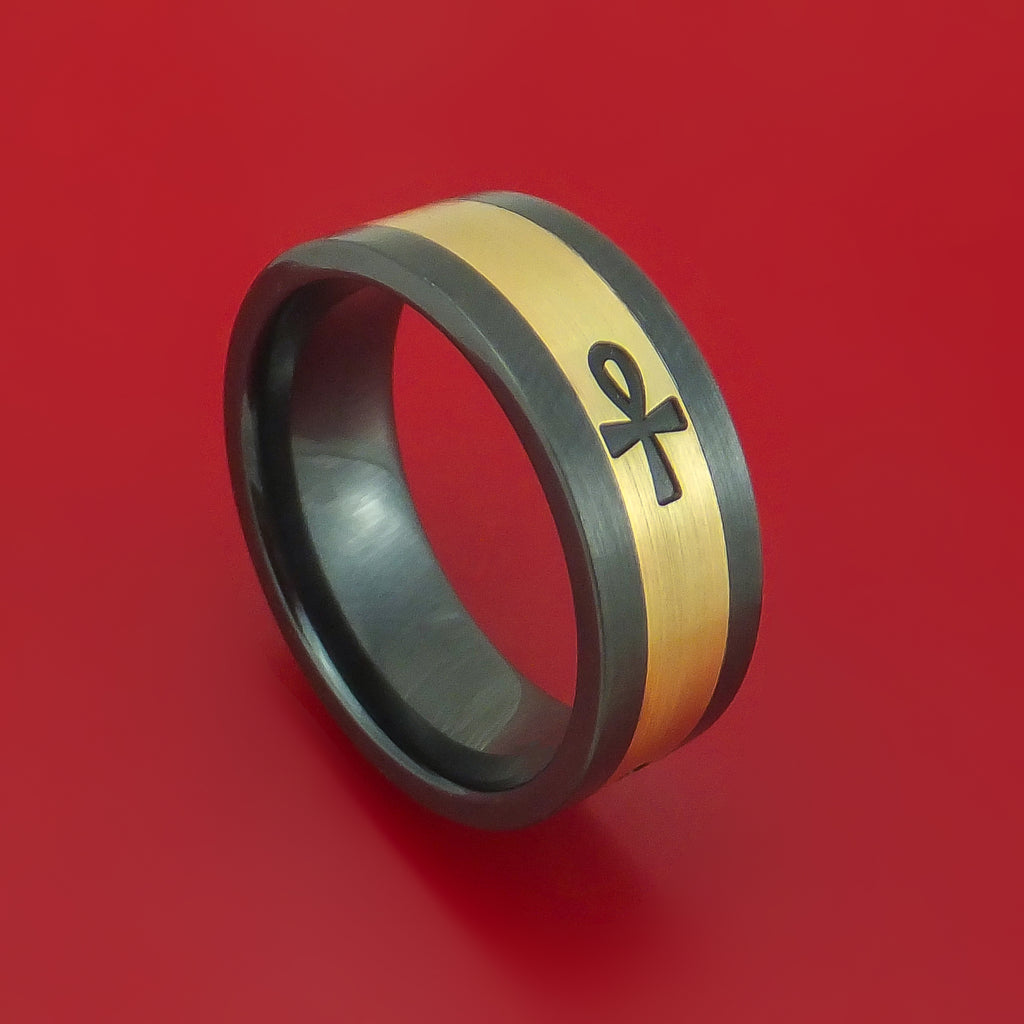 Black Zirconium and 14K Yellow Gold with Egyptian ANKH Custom Made Ring