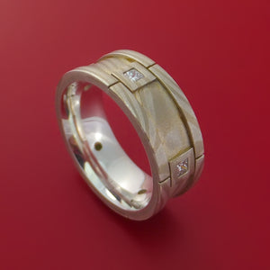 Full Mokume Gane Ring with Palladium and Six Beautiful Diamonds Custom Made