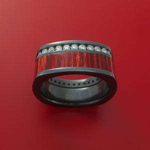 Black Zirconium Ring with Hardwood Inlay and Diamonds Custom Made Band