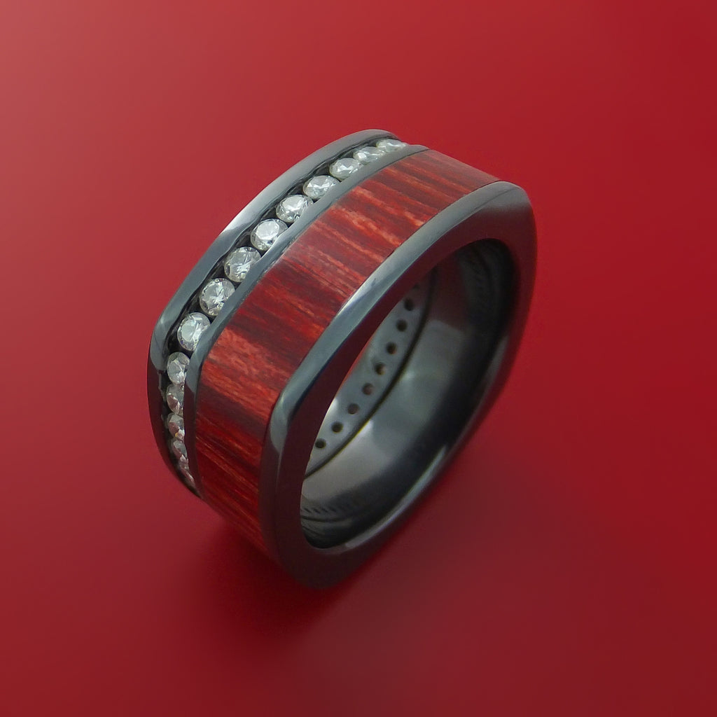 Black Zirconium Diamond Eternity Squared Band with Cocobolo Hard Wood Custom Made by Stonebrook Jewelry