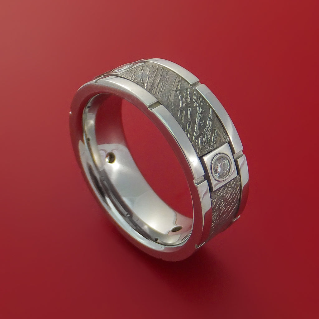Cobalt Chrome Ring with Segmented Gibeon Meteorite Inlay and Diamond Custom Made Band