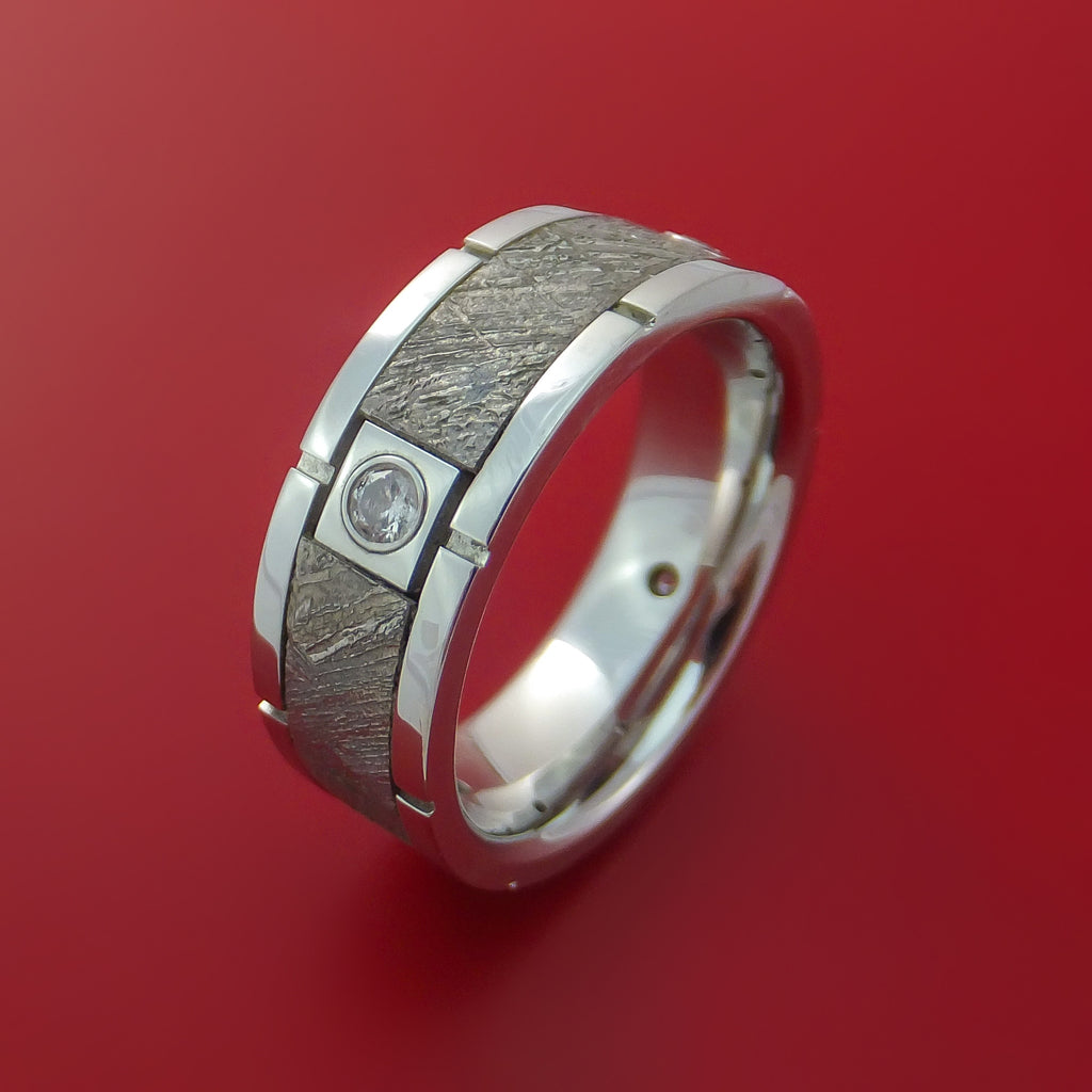 Cobalt Chrome Gibeon Meteorite Ring with Diamonds Custom Made Band