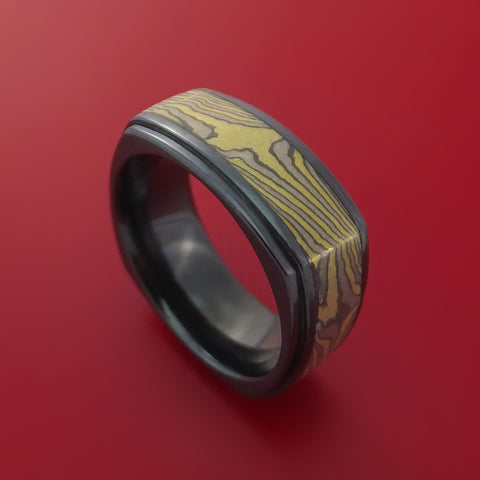 Black Zirconium Square Band with Yellow Gold Mokume Gane Custom Made