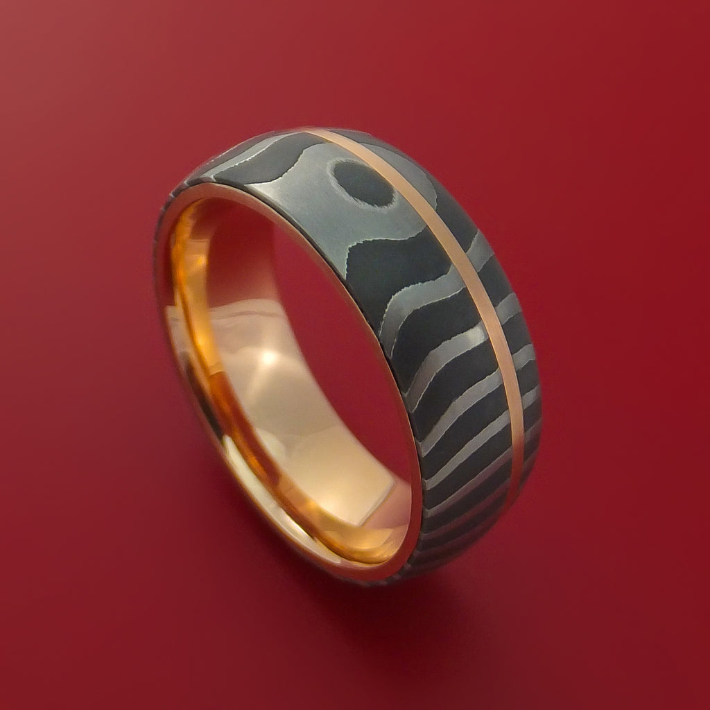 Tiger Damascus Steel Ring with 14k Rose Gold Inlay and Interior 14k Rose Gold Sleeve Custom Made Band