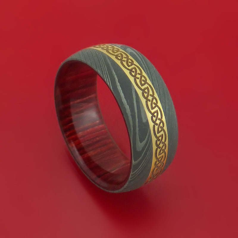 Damascus Steel Ring with 14k Yellow Gold and Infinity Knot Etched Celtic Design Inlays and Interior Hardwood Sleeve Custom Made Band
